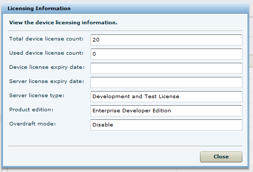 SUP License information - Sybase Control Center