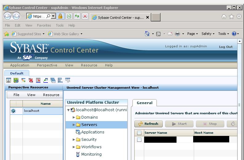 SUP Server - Sybase Control Center